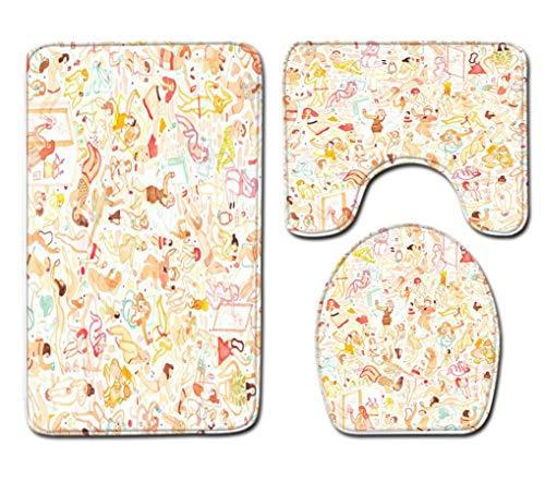 Badmat Kleed 3-Delige Set Mooie Strandvrouw Print Toiletbril Cover Badmat Deksel Cover Badmat Family Home Decor