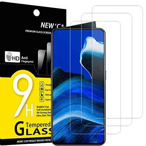 NEW'C 3 Stück, Schutzfolie Panzerglas für Oppo Reno 2, Reno 2Z, Frei von Kratzern, 9H Festigkeit, HD Bildschirmschutzfolie, 0.33mm Ultra-klar, Ultrawiderstandsfähig
