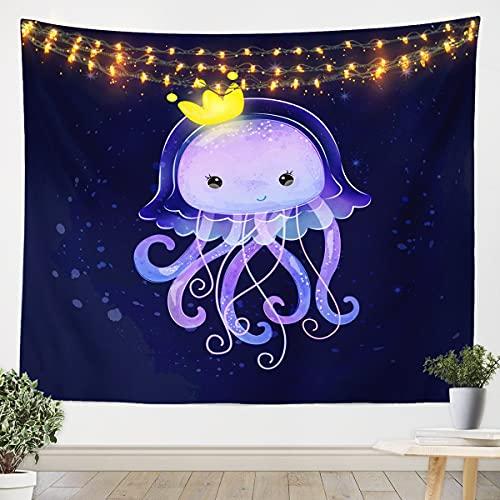 Homemissing Tapiz de medusas para colgar en la pared, para niños, criatura del océano, para dormitorio, sala de estar, sellado, habitación, color azul oscuro, 152 x 222 cm