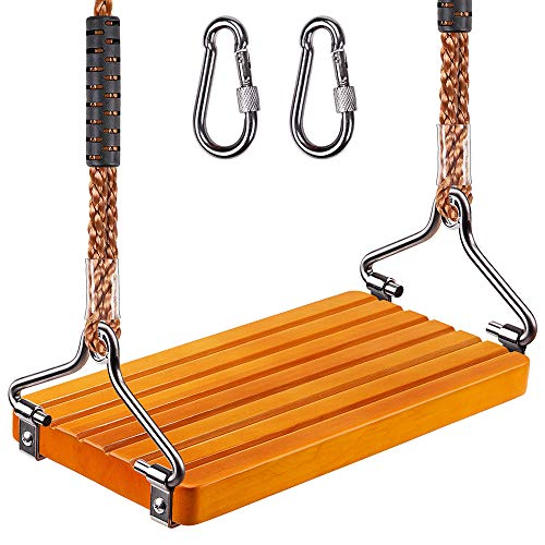 SELEWARE 17.5' X 8.2' Non Slip Wooden Swing, Hanging Wooden Tree Swing Seat with Length Adjustable Nylon Rope and Stainless Steel Snap Hook Swing Set for Adult Kid Indoor Outdoor Playground Backyard