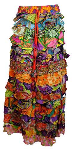 Terrapin Trading Ltd Fair Trade Long Frilly Rüschen Samba Latino Flamenco Mehrfarbig Festival Rock - Medium