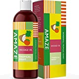 Tropical Massage Oil for Women and Men - Tropical Fruit Massage Oil with Coconut Oil + Sweet Almond Oil + Jojoba Oil for Anti-Aging + Anti-Cellulite Skin Benefits - Relax Muscles & Joints