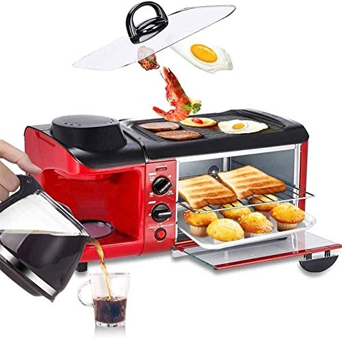 Horno eléctrico multifunción Desayuno Tres en uno Máquina de café pequeña Tostadora automática Sartén eléctrica Sandwich Tostadora Mini Horno