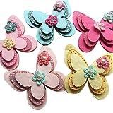 Chenkou Craft, farfalla decorativa in feltro con nastro di raso, fiori, perline, 15 pezzi mix