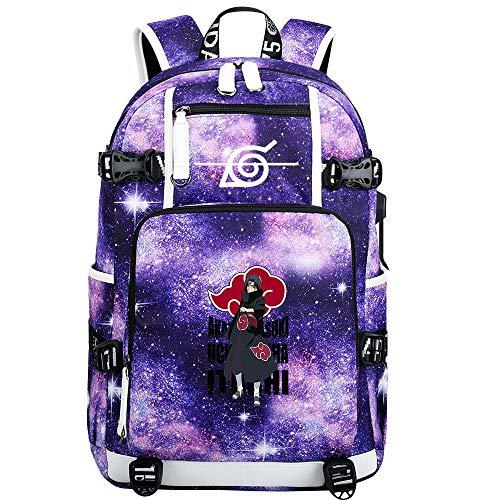 GOYING Uzumaki Naruto/Uchiha Itachi/Sharingan Anime Backpack Middle Student School Rucksack Daypack for Women/Men with USB-C