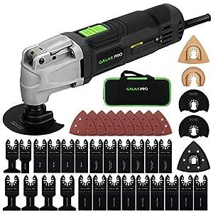 GALAX PRO Multiherramienta Oscilante, 260W Eléctricas Herramienta Multifunción Oscilantes,Ajuste de 6 Velocidades, 4° Ángulo de Oscilación,40 Accesorios,con Bolsa de Herramientas