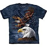 The Mountain Eagle Flag Collage Adult T-Shirt, Blue, Large