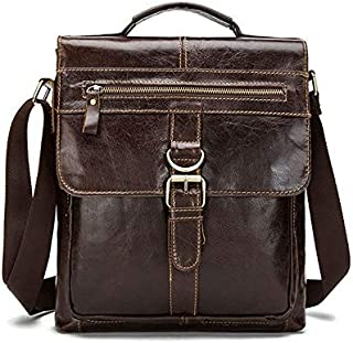 Men's Genuine Leather Vintage Male Single-Shoulder Flip Bag JAUROUXIYUJINn (Color : Coffee)