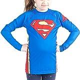 Fusion Superman Logo Kids Rash Guard Compression Shirt -Long Sleeve (X-Small)