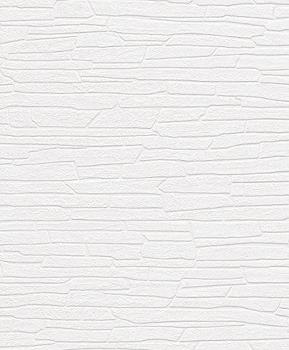 Rasch Tapeten 150001 VliesTapete Rasch Kollektion Steine & Hölzer, weiß