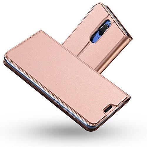 Radoo Funda Huawei Mate 10 Lite, Slim Case de Estilo Billetera Carcasa Libro de Cuero,Carcasa PU Leather con TPU Silicona Case Interna Suave [Función de Soporte] para Huawei Mate 10 Lite (Oro Rosa)