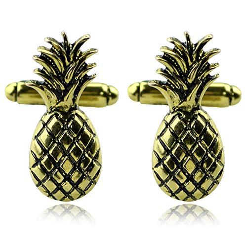 CUHAWUDBA Obst Ananas Manschetten kn?pfe Goldene Luxus Metall Manschetten kn?pfe Herren mode Hemd Manschetten knopf Schmuck