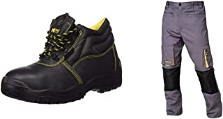 WOLFPACK LINEA PROFESIONAL 15018030 Botas Seguridad S3 Piel Negra Nº 42 + 15017090 Pantalon de trabajo Gris/Amarillo, Tall...