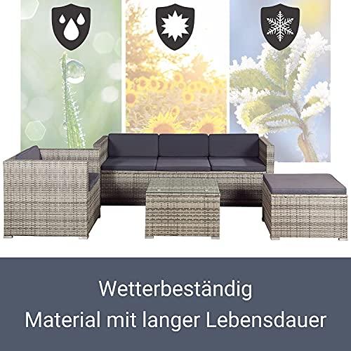 ArtLife Polyrattan Lounge Punta Cana L grau-meliert – Gartenlounge für 4-5 Personen – Gartenmöbel-Set mit Sessel, Sofa, Tisch, Hocker – Bezüge Dunkelgrau - 6