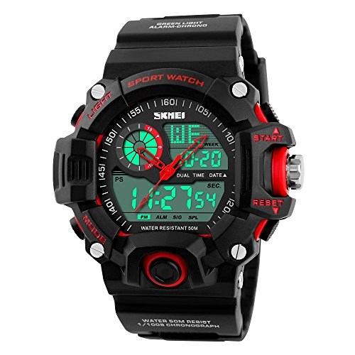 TONSHEN Mens Digital Sport Watch Outdoor Electronic Multifunction Waterproof Quartz Analogue Display LED Back Light 164FT 50M Water Resistant Alarm Multiple Time Stopwatch Military Wristwatch Red