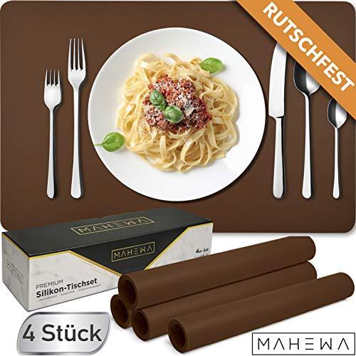 HEYNMA Premium Tischset Platzset aus Silikon | Edles 4er Set Design Platzdeckchen | Rutschfeste Teller-Unterlagen Teller-Untersetzer | Abwaschbar Wasserabweisend Tisch-Matten Platz-Matten Dunkel-Braun