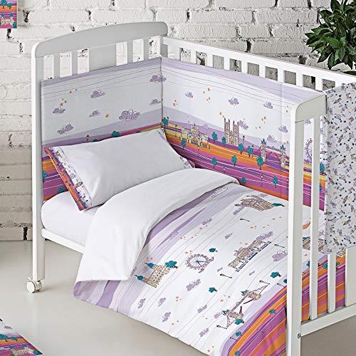 Eiffel Textile Baby Protector Cuna Acolchado. Chichonera bebe. 100% Algodón. Calidad Diseño Infantil. Estampado. Inglaterra Color Malva, 40 x 180 cm