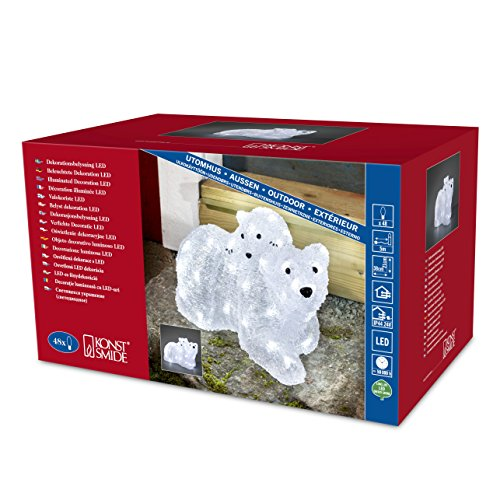 """Konstsmide 6191-203 LED Acrylfigur \""""Eisbärmutter mit Kind\"""" / für Außen (IP44) /  24V Außentrafo / 48 kalt weiße Dioden / weißes Kabel"""