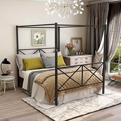 JURMERRY Metal Canopy Bed Frame with Headboard & Footboard Sturdy Steel Perfectly Easy DIY Assembly All Parts Included,Black Queen