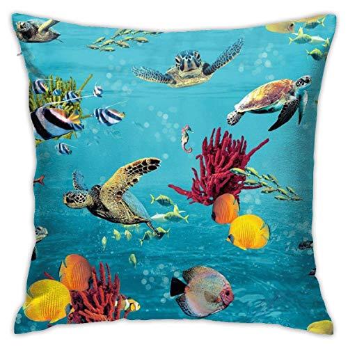 Sea Turtle Blue Ocean Undersea World2 - Funda de almohada suave para cojín decorativo, funda de almohada cuadrada, moderna, decoración del hogar y el coche, 66 x 66 cm