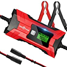 ROCKPALS Car Battery Charger Automotive, 4 Amp 6V/12V Trickle Charger, Battery Maintainer for Cars, Trucks, Motorcycles, Lawn Mower with Cable Clamps
