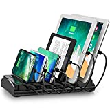 Powstick Charging Station for Multiple Devices 60W 12A with Mixed Cables 6 USB Ports Fast Multi Charger Organizer Heavy Duty Dividers for Cell Phones Tablets Smartphones Electronics for Home Office