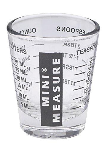 Kolder Mini-Messbecher, Schnapsglas-Größe, Robustes Glas, Vielseitig, für Flüssigkeiten und Trockenstoffe, 26 Maßangaben für Teelöffel, Esslöffel, Unzen und Milliliter, Glas, Schwarz, 1 Packung