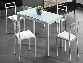 comprar comparacion Mesa Extensible de Cristal translúcido Color Blanco y Estructura Gris par Comedor o Cocina