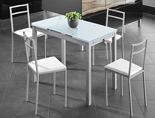 Mesa Extensible de Cristal translucido Color Blanco y Estructura Gris par Comedor o Cocina