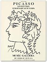 ピカソポスターマチス絵画抽象少女フラワーラインアートポスターとプリントリビングルームの装飾のためのミニマリストの壁アート画像40x60cmフレームなし-4