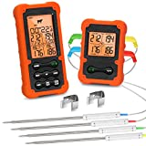Grill Smoker BBQ Cooking Food Thermometer Oven Safe - Digital Wireless Meat Thermometer for Grilling...