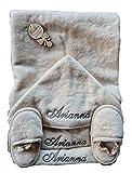 Accappatoio Triangolo neonato con ricamo personalizzato Asciugamano bambino cotone con cappuccio ciabattine e 2 bavaglie per regalo neonati da 0 a 4 anni ecru per bagno bagnetto piscina mare