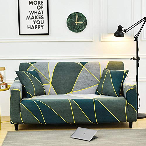 La Funda elástica para sofá es fácil de Limpiar y Resistente al Polvo Spandex en Forma de L Diferentes tamaños y Patrones de Moda Múltiples Opciones para 2 Asientos 145-185cm_
