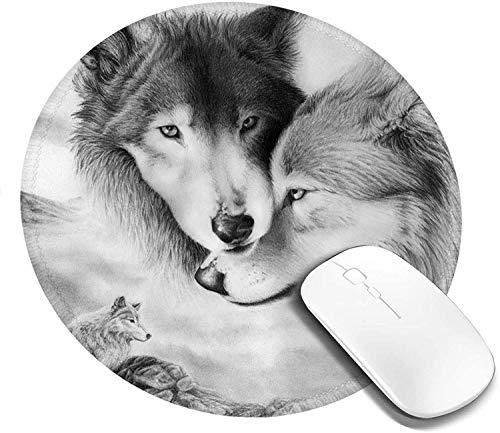 Alfombrilla de ratón Redonda con diseño de Lobos, Alfombrilla de ratón pequeña con Base de Goma Antideslizante, Alfombrilla de ratón Bonita para Ordenadores, Oficina en casa