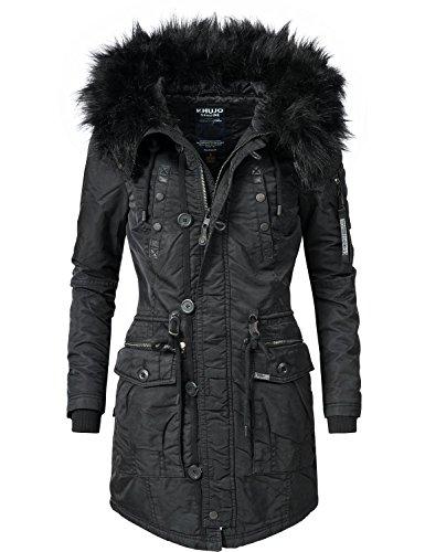 Khujo Damen Mantel Wintermantel Winterparka YM-Halle (vegan hergestellt) Schwarz Gr. S