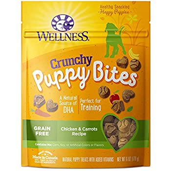 Wellness Natural Pet Food Grain-Free Crunchy Puppy Bites Chicken & Carrots Recipe Dog Treats 6 Ounce Bag  89016