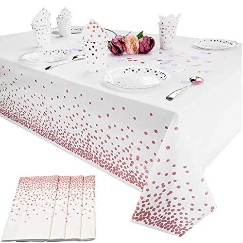 Einweg Tischdecke aus Kunststoff, 4 Stück Tischdecken für rechteckige Tische, Party-Tischdecken, Roségold Dot Tischdecke, für Gastronomie, Feste, Partys, Hochzeit, Jahrestag (54 x 108 Zoll)