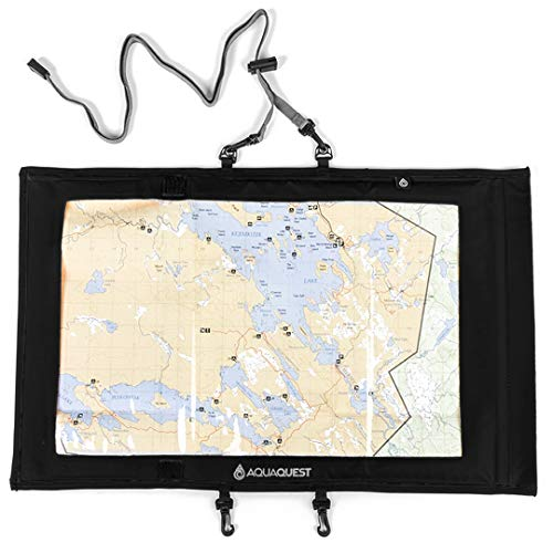 Aqua Quest TRAIL Map Case - 100% Waterproof Document Dry Bag Holder with Clear Window & Lanyard (Black)