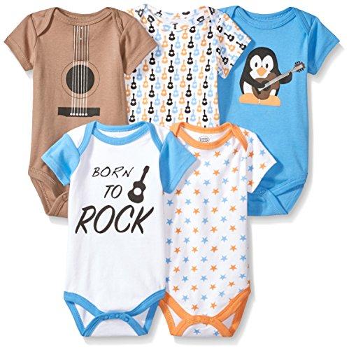 Luvable Friends Unisex Baby Cotton Bodysuits, Rock, 0-3 Months