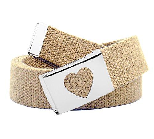 Girl's School Uniform Silver Flip Top Heart Belt Buckle with Canvas Web Belt Small Khaki