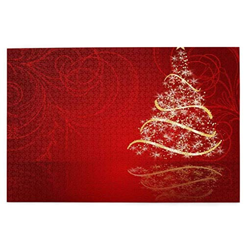 Adult Puzzles 1000 Pieces Best Sellers Fir Year Christmas Postal Tree Stars Congratulation Beautifully Ribbon On New Holidays Line Winter Can Be Used for Family,Graduation