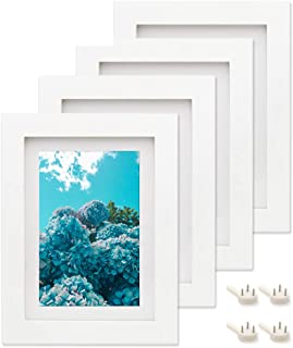 Afuly 5x7 White Picture Frames Set of 4 Wood Mat to fit 4x6 Photo for Wall Gallery and Table Top - Mounting Material Included - Made of Solid Wood & 2mm Thick Plexiglass