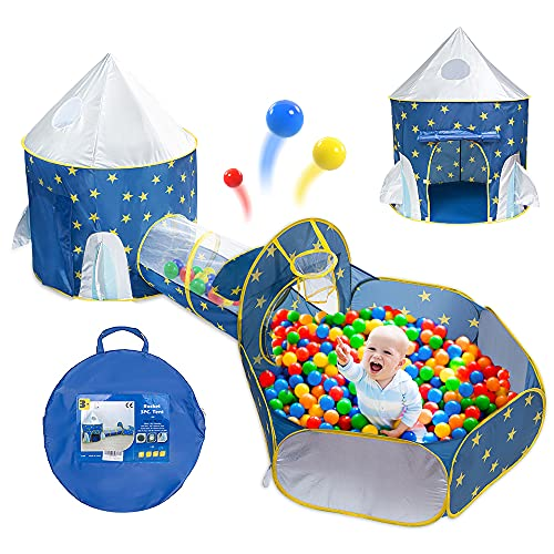Docuwee 3 in 1 Blue Star Rocket Ship Play Tent, Crawl Tunnel, Ball Pit Princess Pretend Assemble Play Tents, Foldable Space World Themed Toys, Pop Up Playhouse Toy for Kids Toddlers Indoor/Outdoor