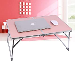 Laptop Table for Bed, Foldable Breakfast Tray Portable Mini Picnic Desk Storage Space Laptop Desk Notebook Stand Reading Holder Work from Home(Pink)