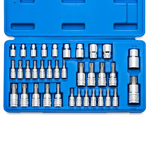 Neiko 10070A Torx Bit Socket and E-Torx Star Socket Set | 35-Piece Set, S2 and Cr-V Steel, 1/4, 3/8 and 1/2-Inch Drive