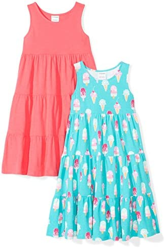 Spotted Zebra Girls Toddler Knit Sleeveless Tiered Dresses 2 Pack Ice Cream 4T product image