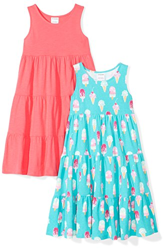 Amazon Brand - Spotted Zebra Kids Girls Knit Sleeveless Tiered Dresses, 2-Pack Ice Cream, Small