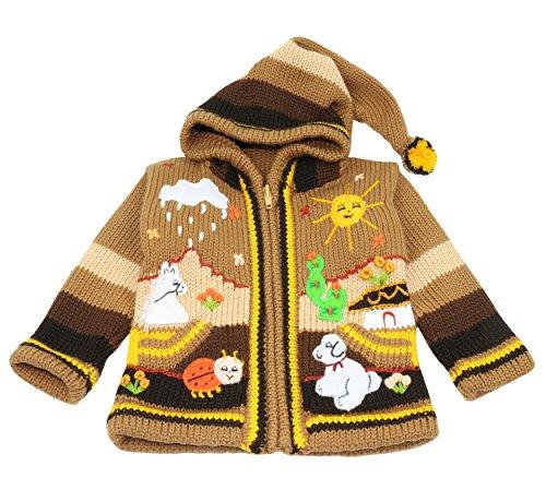 Pablo Vicente Limeno - Kinderstrickjacke aus Peru, Wolle und Dralon, mit Kapuze, Größe 62 bis 116, handgefertigt, Farbe braun (110/116)