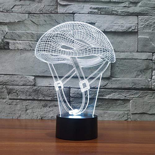 Yujzpl 3D-illusielamp Led-nachtlampje, USB-aangedreven 7 kleuren Knipperende aanraakschakelaar Slaapkamer Decoratie Verlichting voor kinderen Kerstcadeau-Fietshelm