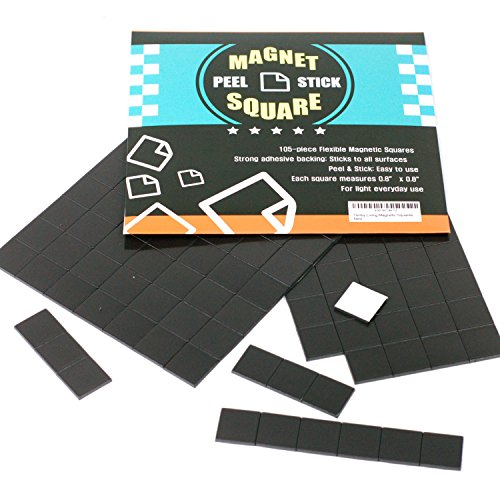 105-Piece Flexible Magnetic Squares for Light Everyday Use; Strong Adhesive - Just Peel & Stick